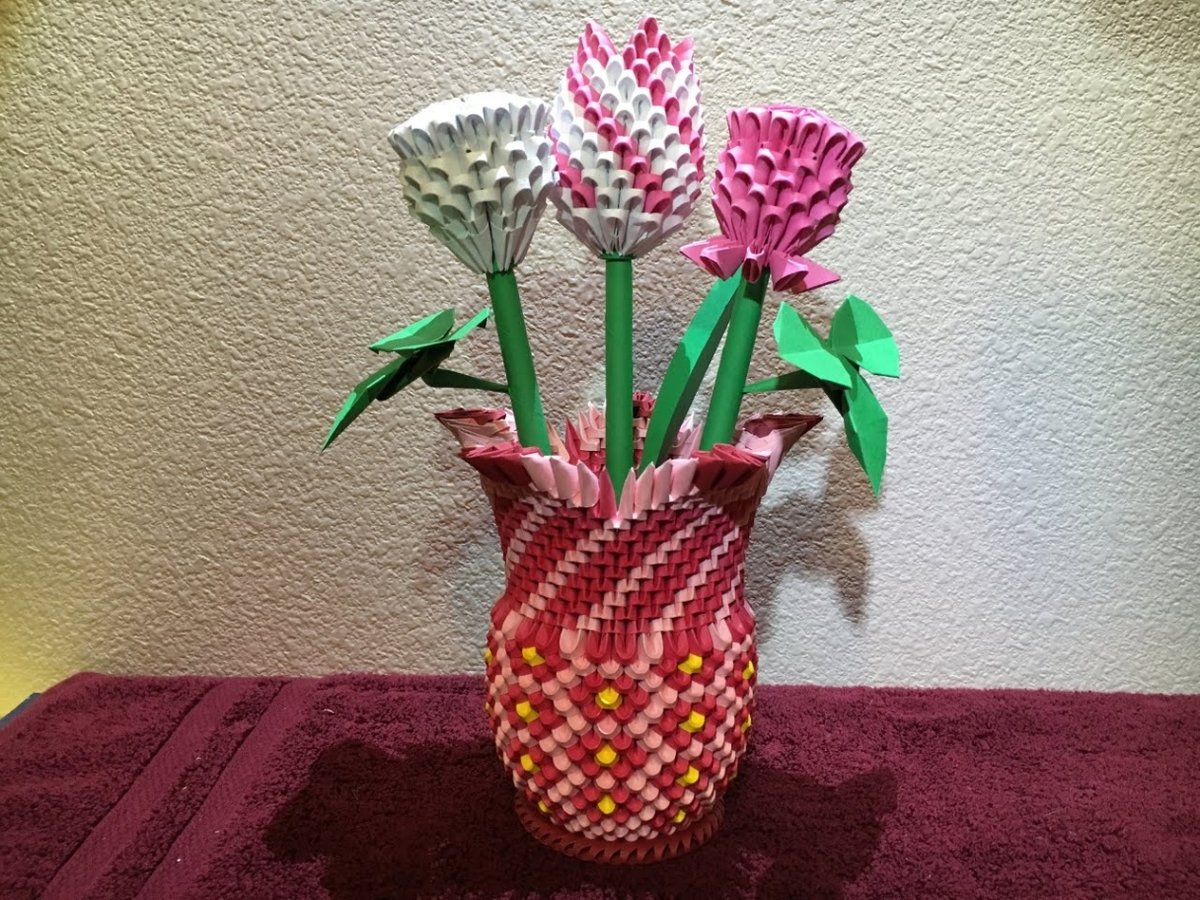 Оригами ваза из модулей: схема сборки пошагово с видеоуроком