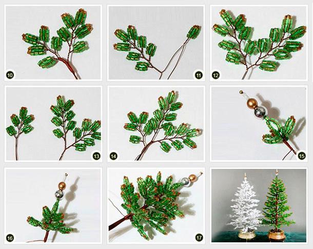 Как сделать из бисера елку своими руками к новогодним праздникам по фото и видео уроку