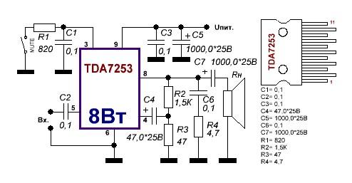 Простые умзч на tda7379, tda7375 » журнал практической электроники датагор (datagor practical electronics magazine)