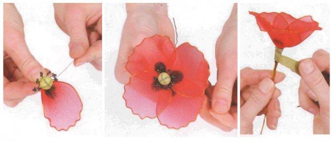 Цветок из капронобой ткани