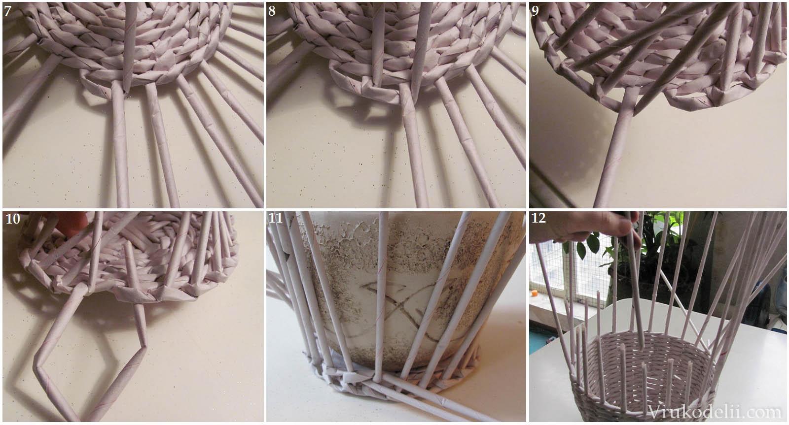 Основные секреты плетения вазы из газетных трубочек