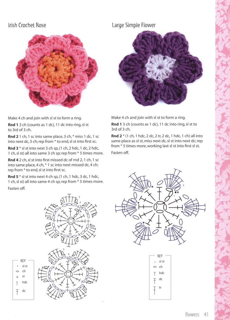 Красивый цветок из простых мотивов - своими руками