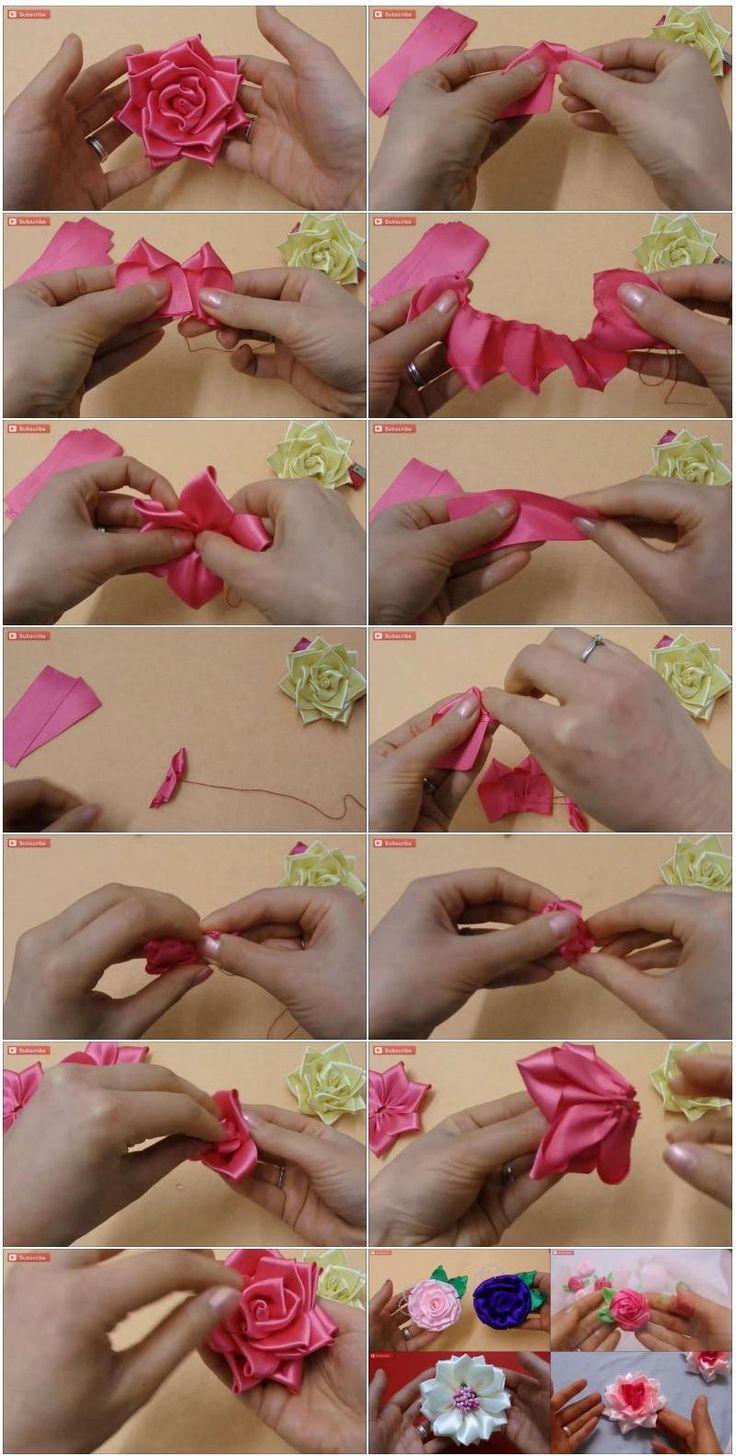 Цветы из атласных лент своими руками: мастер-класс