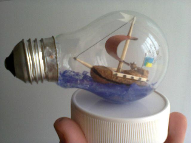 Макет модель моделирование конструирование воздушный шар - кораблик из лампочки мк
