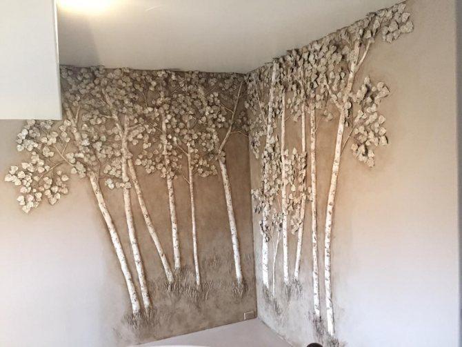 Объемные картины из бумаги, дерева, картона, ткани и кожи, аппликации из искусственных цветов своими руками, из гипса, шпаклевки и акриловой краски
