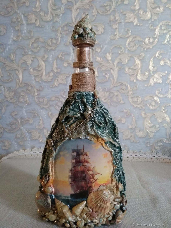 Декоративная бутылка «воспоминания о море. декоративная бутылка «воспоминания о море декор бутылок в морском стиле