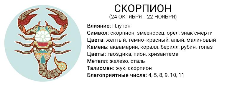 Что означает знак зодиака скорпион, как выглядит, описание знака, гороскоп