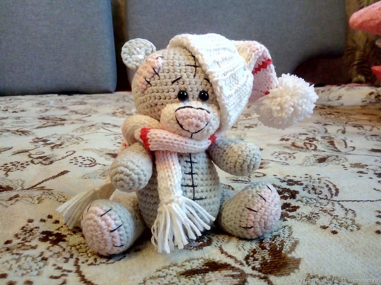 Мишка амигуруми из плюшевой пряжи