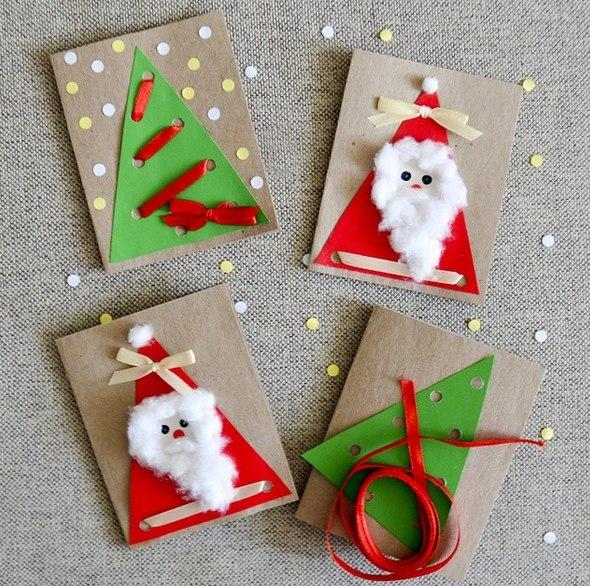 Новогодние открытки своими руками, идеи оформления | праздник для всех