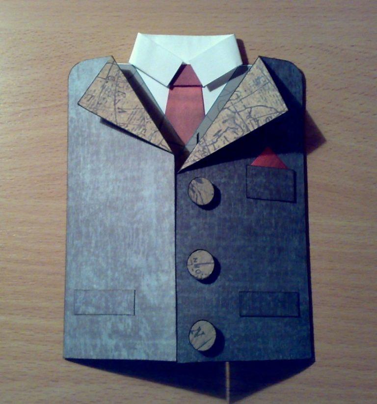 3 идеи открытки «рубашка с галстуком»для детей своими руками