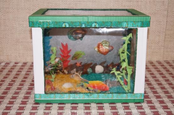 Идея аквариум из катонной коробки и бумаги