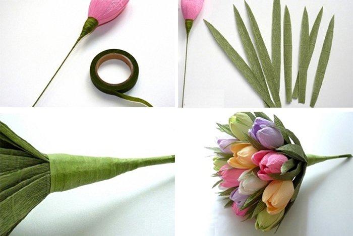 Тюльпаны из гофрированной бумаги с конфетами: идеи букетов и мастер-классы