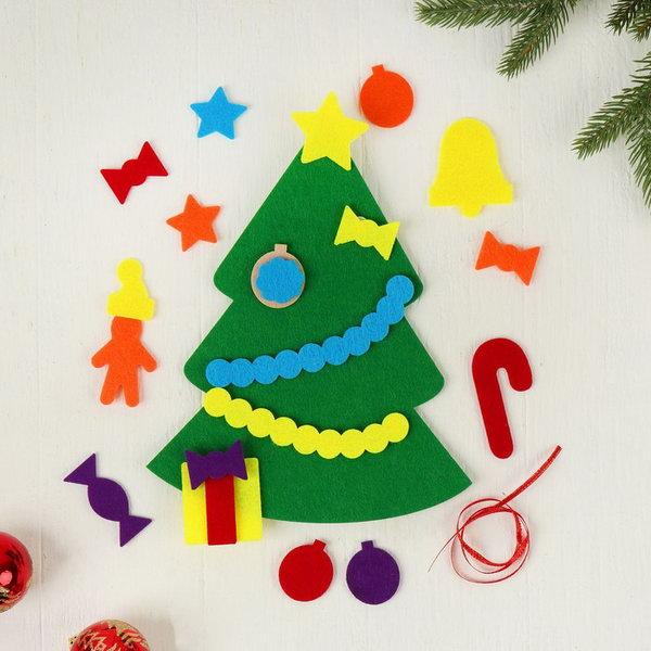 Объемная елочка из фетра конус. елочки из фетра — идеальный и безопасный новый год с малышами. елочка из фетра своими руками: выкройка