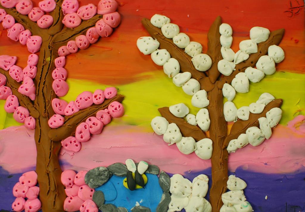 Картины из пластилина на картоне для детей, рисование пластилином картинки шаблоны