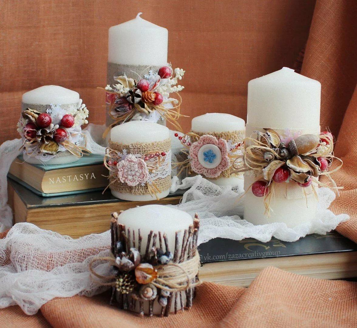 Изготовление и декор свечей на новый год
