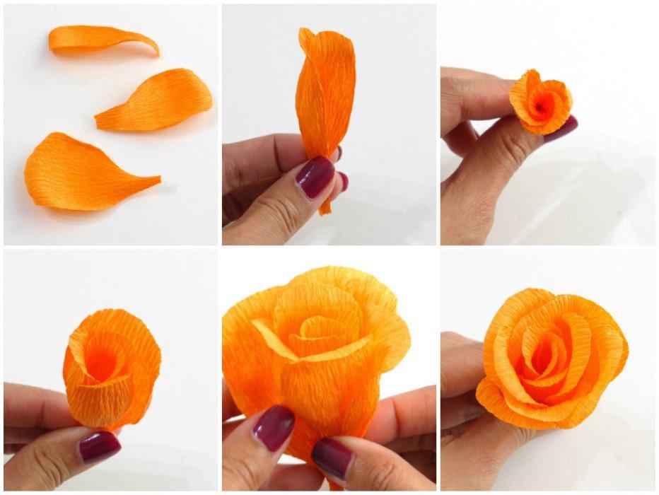 Как сделать розу из гофрированной бумаги своими руками, поэтапно 30+ фото