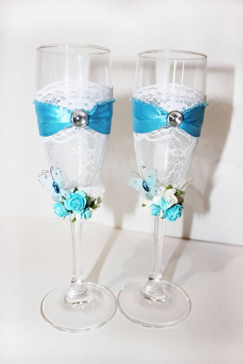 Украшение бокалов на свадьбу своими руками: фото и видео уроки