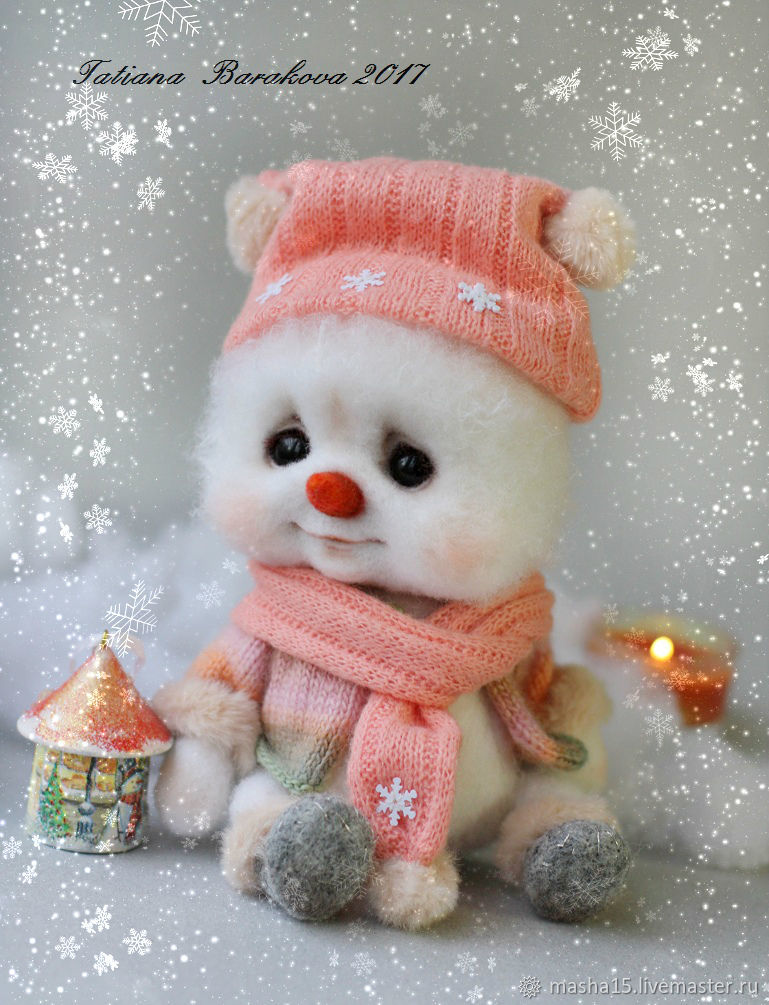 Как свалять милого снеговичка из шерсти