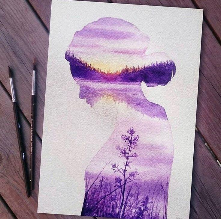 Лёгкие рисунки красками для начинающих на бумаге, учимся поэтапно
