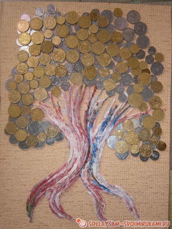 """Картина панно рисунок аппликация из скрученных жгутиков ассамбляж """"денежное дерево"""" фэн шуй символика  клей краска монета салфетки"""