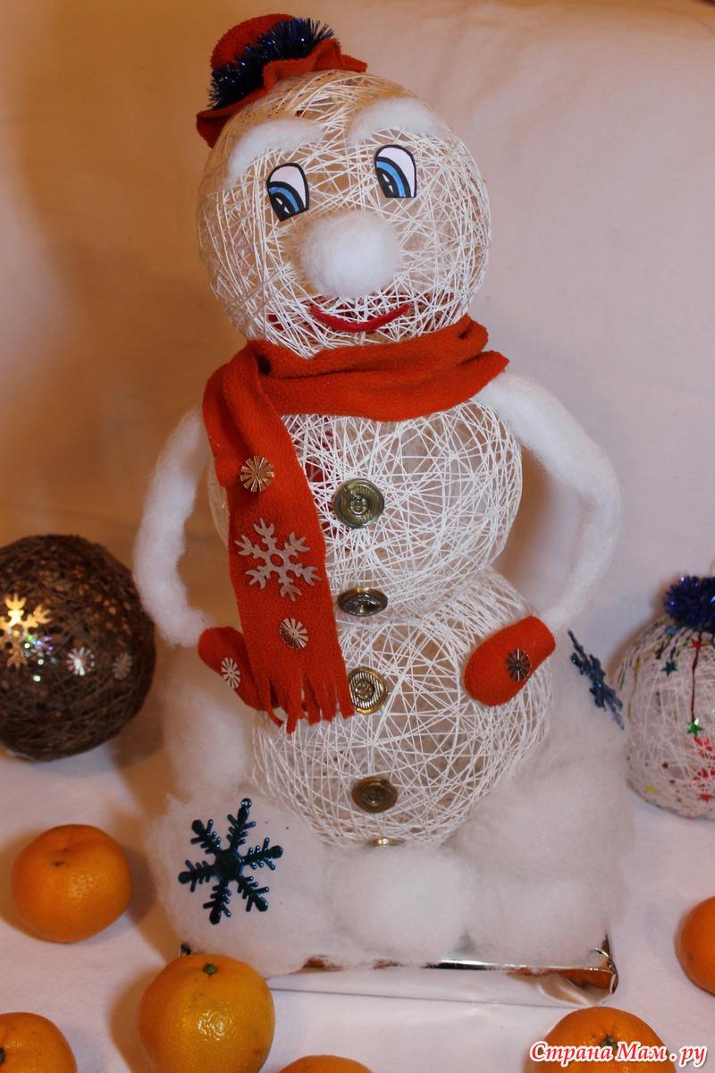 Как сделать снеговика своими руками из ниток и шариков