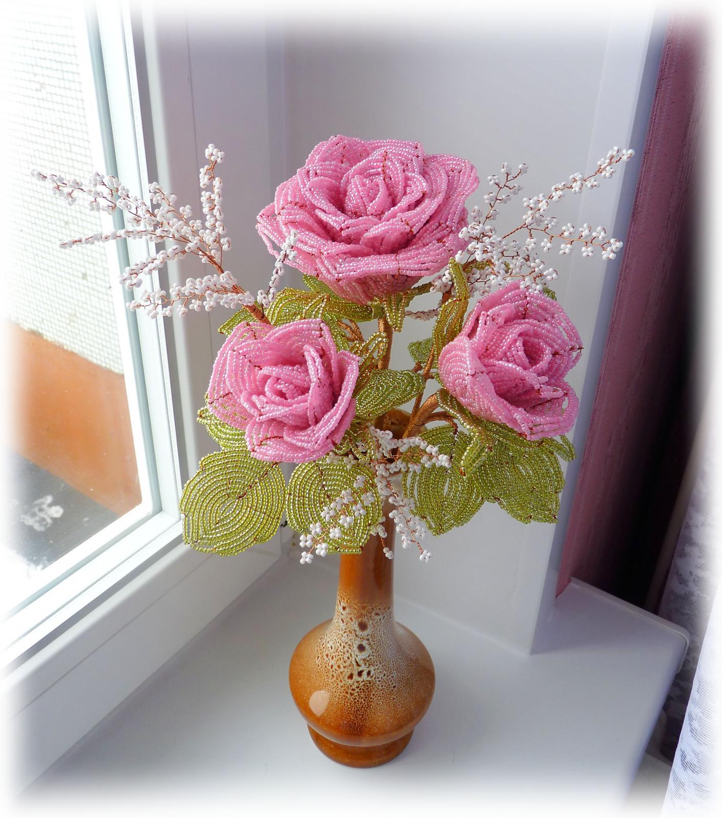 Бокаловидная роза из бисера рубки — подробный мастер-класс плетения и фото