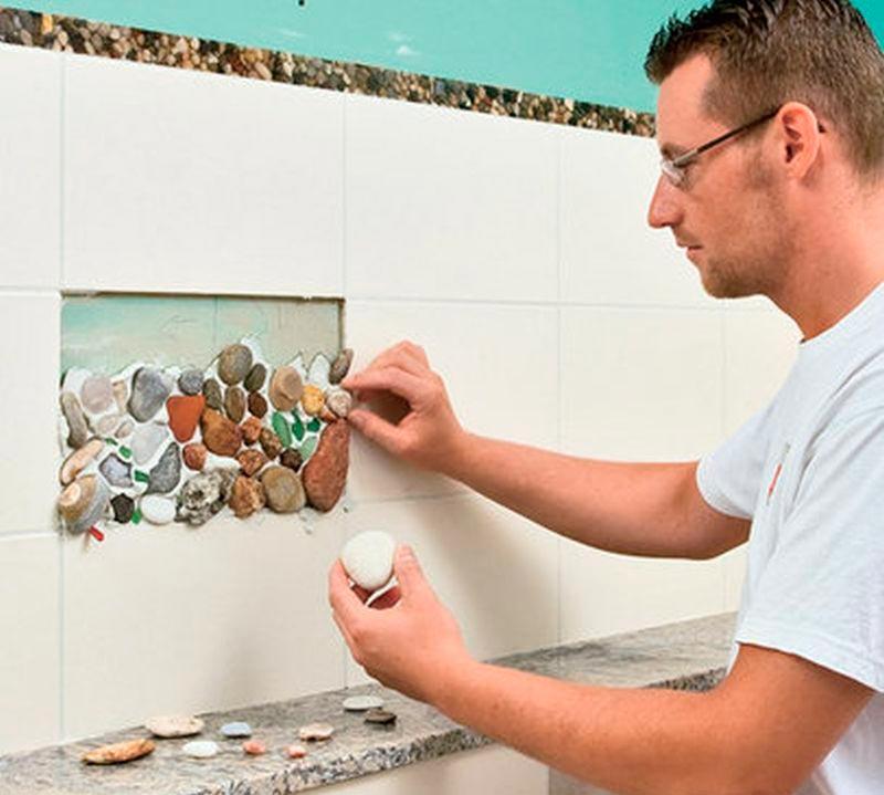 Способы декора ванной комнаты плиткой +50 фото