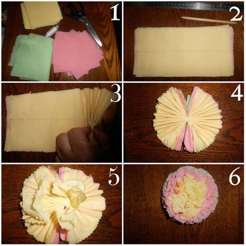 Цветы из салфеток своими руками – пошаговая инструкция как изготовить своими руками бумажные цветы (100 фото)