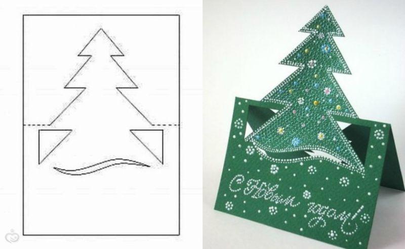 Новогодняя открытка из остатков скрапбумаги своими руками. мастер-класс с фото. новогодняя объёмная открытка ёлочка с подарками своими руками. пошагов