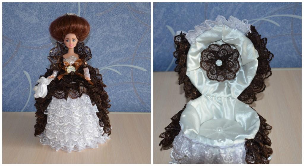 Куклы-шкатулки (27 фото): как сделать своими руками? изготовление кукол в бальных платьях из атласных лент, пошаговое описание для начинающих