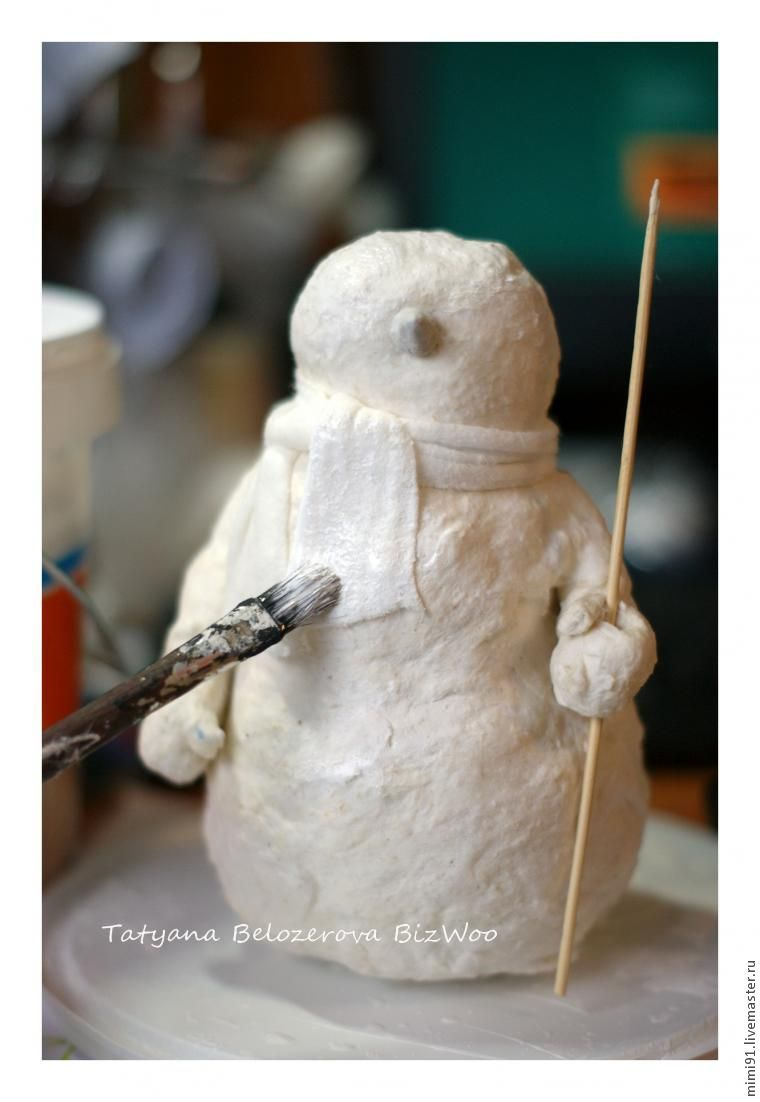 Поделки из ваты: игрушка-снеговик к новому году