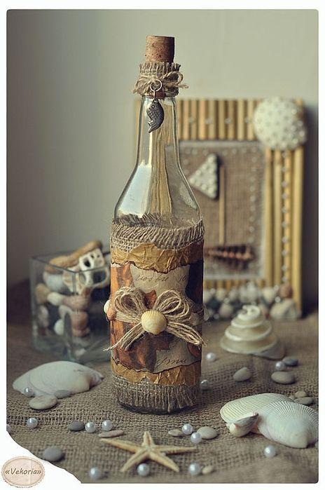 Декоративная бутылка «воспоминания о море. как украсить бутылку в морском стиле – декор своими руками декорировать банку в морской теме