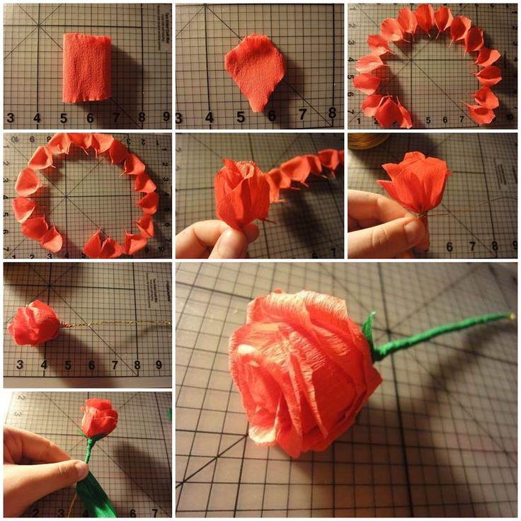 Бутон розы из гофрированной бумаги: пошаговые мастер-классы