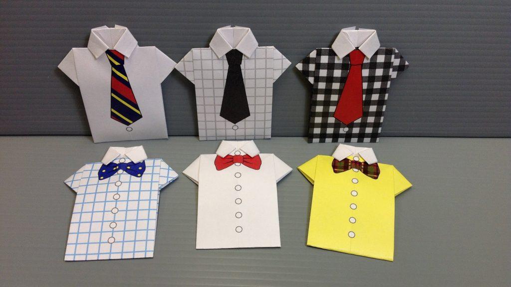 Мастер-класс открытка 23 февраля оригами м/к рубашки с галстуком на 23 бумага картон клей