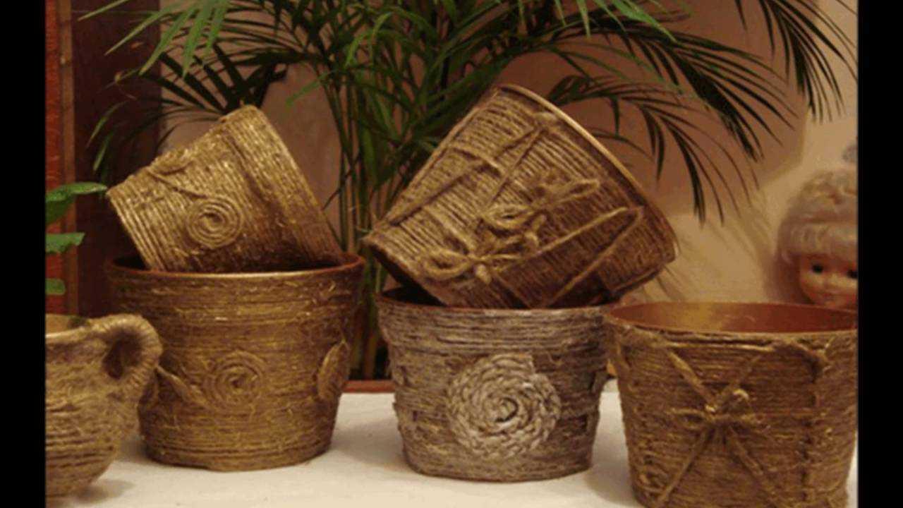 Декор цветочных горшков: как сделать стильные и красивые кашпо. особенности оформления своими руками (85 фото)