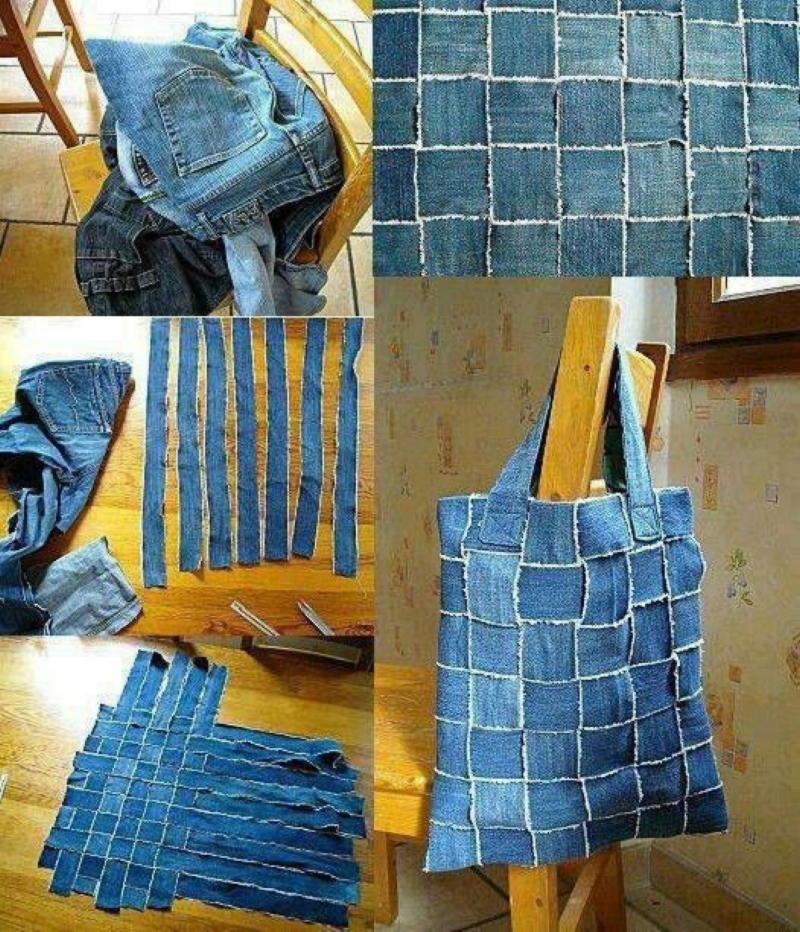 Креативная елочка из джинсовой ткани
