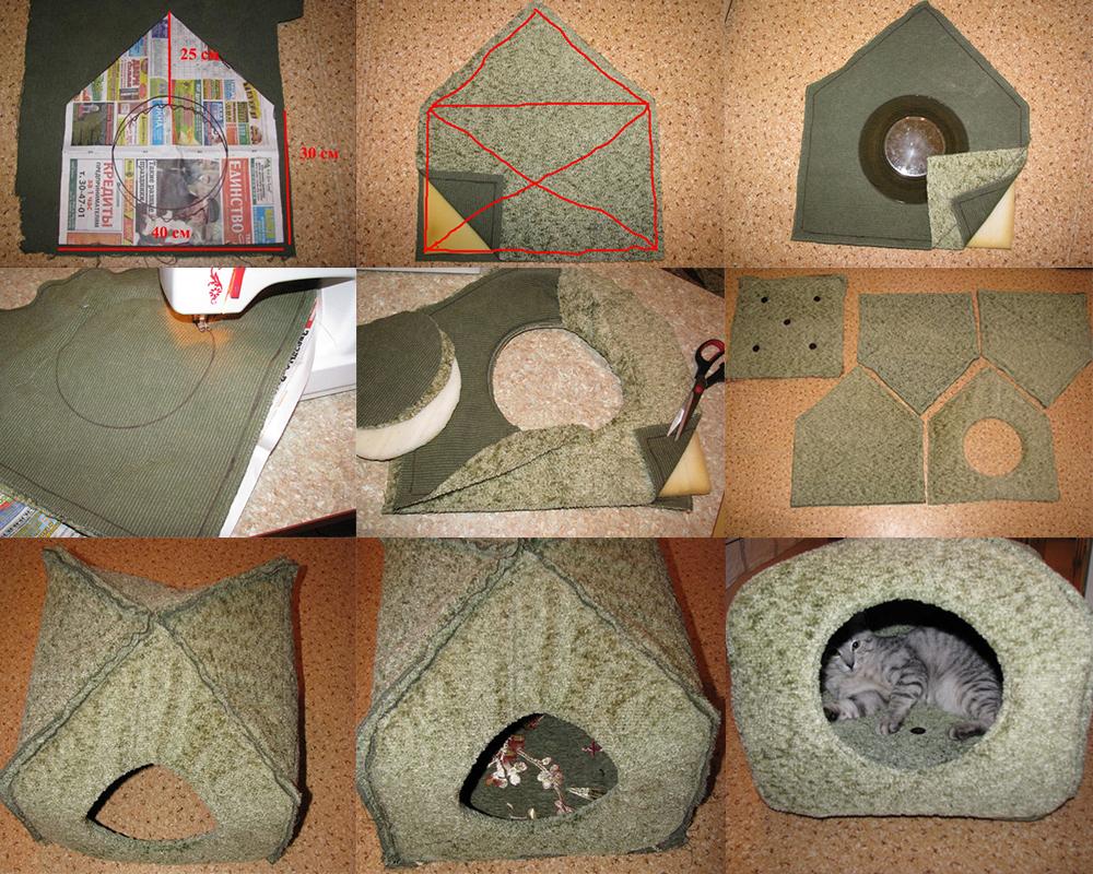 Домик для кошки своими руками: пошаговая инструкция с фото, из дерева, фанеры, картона