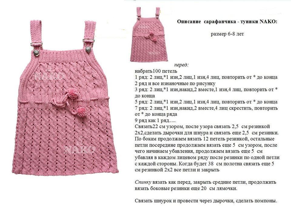 Как связать спицами платье для девочки