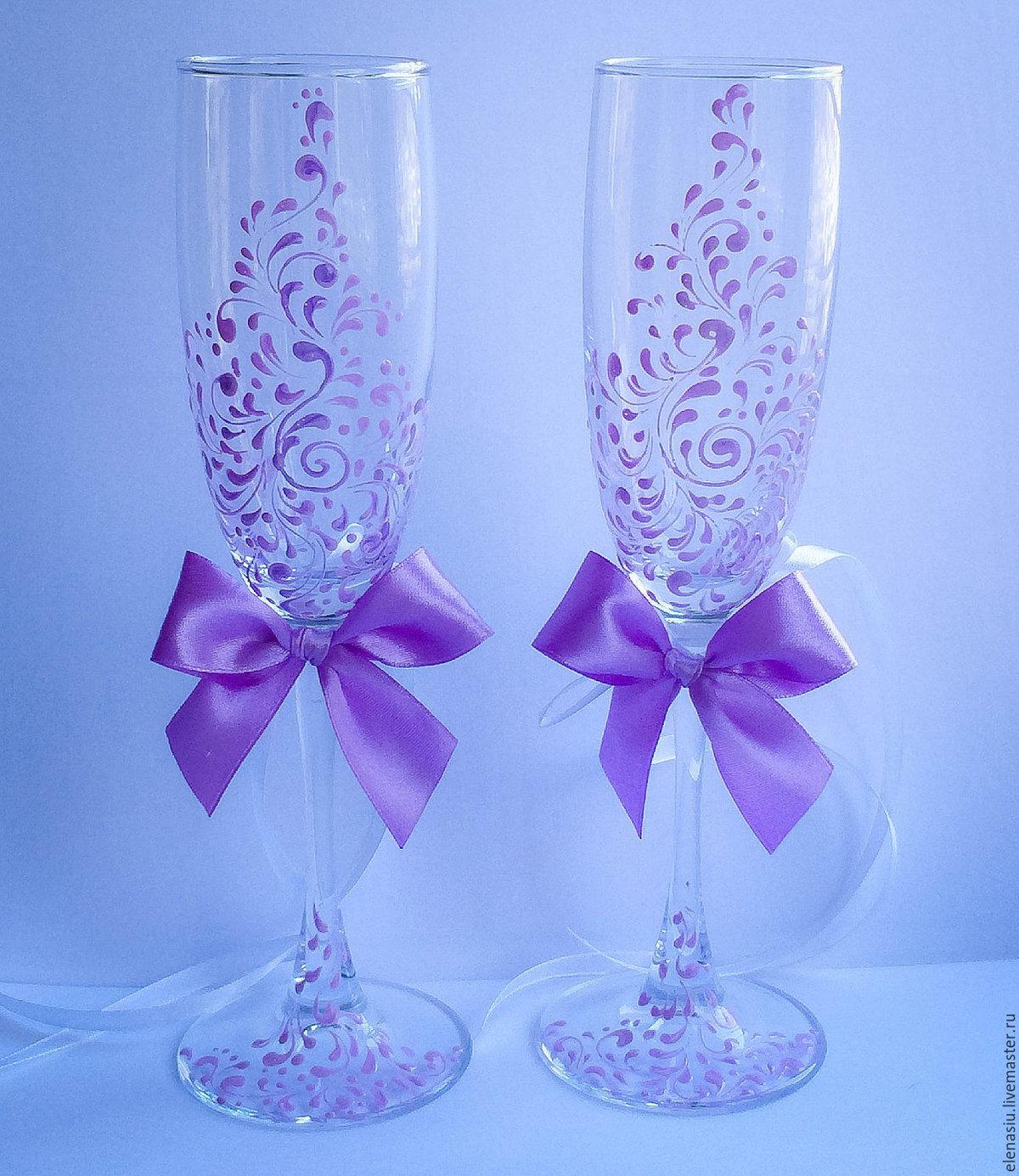 Свадебные бокалы своими руками ? оформление фужеров для жениха и невесты, мастер класс