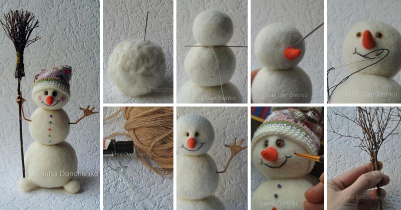 Валяние снеговика из шерсти, все этапы и результат
