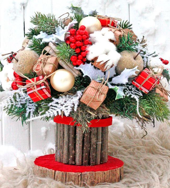 Креативные новогодние композиции 2021 — зимний букет, новогодний топиарий, цветы на ёлку, рождественские букеты своими руками