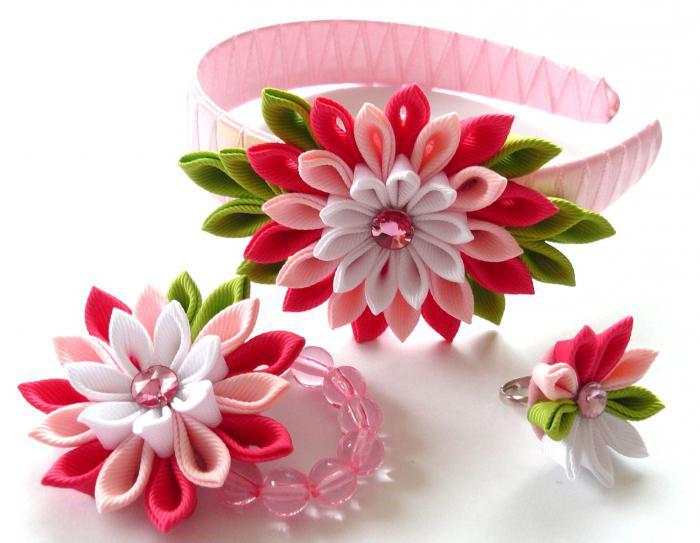Нарядный цветочный ободок из лент. мастер-класс пошаговый с фото