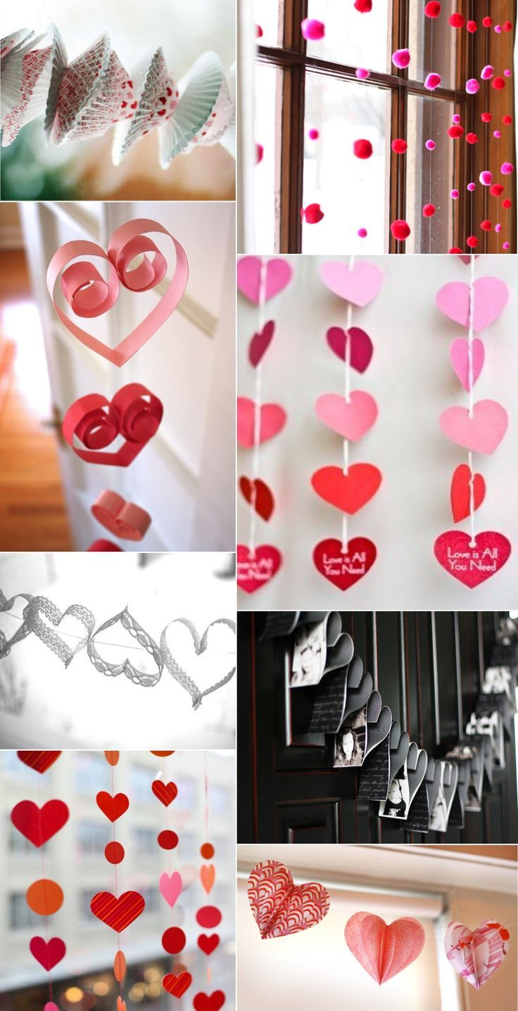 Интерьер поделка изделие валентинов день вырезание гирлянда ко дню влюбленных+схема бумага