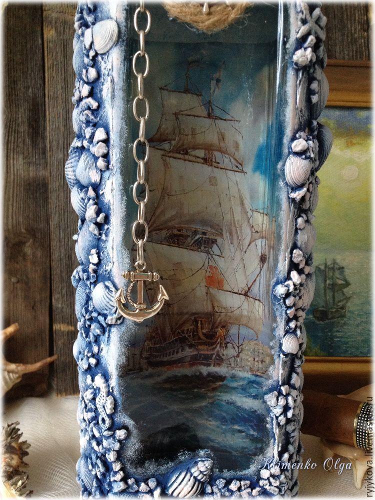 Морская бутылка. декоративная бутылка «воспоминания о море самой сделать подарок бутылку с морской тематикой
