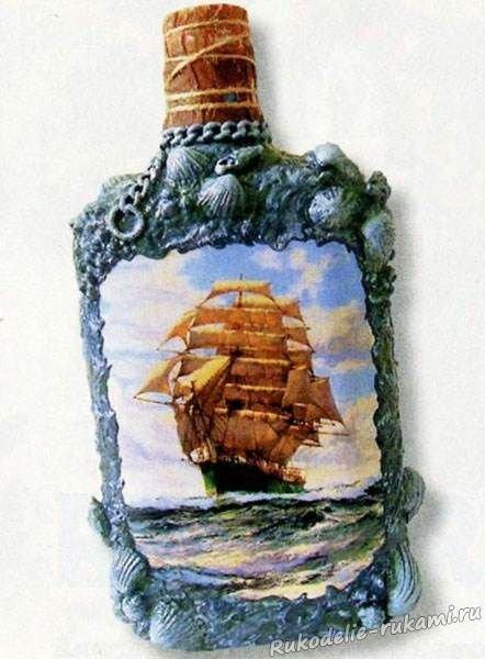 Декор изделия в морском стиле в технике декупаж. декоративная бутылка «воспоминания о море декупаж бутылок скорлупой в морском стиле