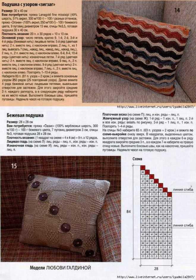Подборка: подушка спицами
