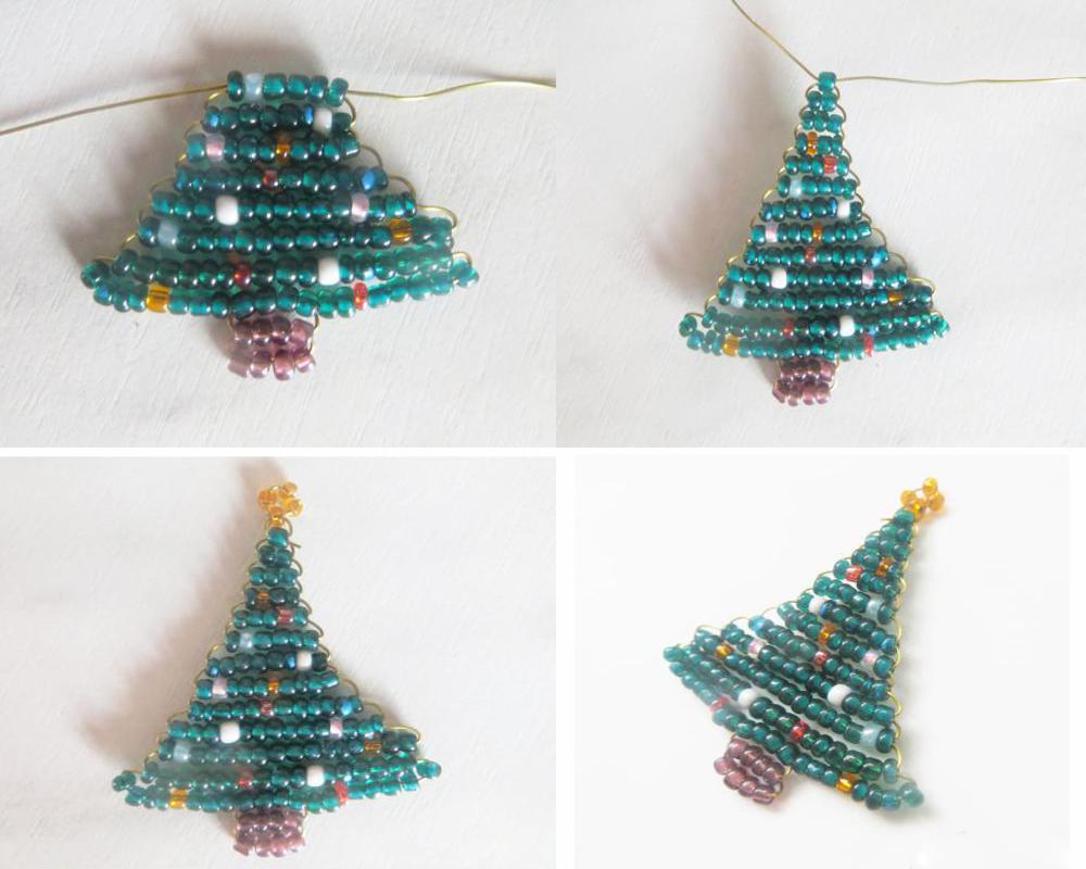 Новогодние елочки из бисера - пошаговый мастер-класс, схема плетения и руководство для начинающих