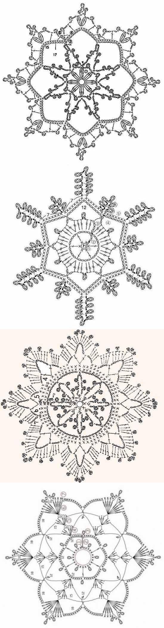 Сложные снежинки крючком схемы с описанием. вязание крючком снежинок