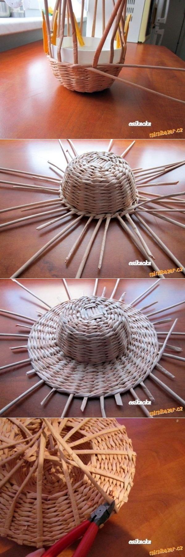 """Как сплести шляпку из бумажных """"соломинок"""" - плетение из газет"""