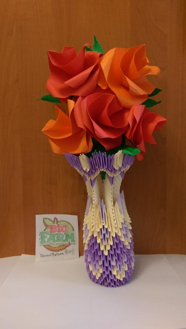 Оригами ваза — мастер-класс сборки модульных конструкций для начинающих